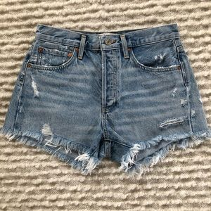 Agolde Shorts - AGOLDE | Parker Frayed-Hem Denim Shorts